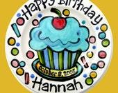"7"" KILN FIRED Happy Birthday cherry cupcake personalized Plate custom ceramic turquoise"