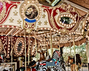 Golden Animal Carousel Ride Fine Art Print- Carnival Art, County Fair, Nursery Decor, Home Decor, Children, Baby, Kids