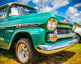 1959 Chevrolet Apache Pickup Truck Car Photography, Automotive, Auto Dealer, Muscle, Sports Car, Mechanic, Boys Room, Garage, Dealership Art
