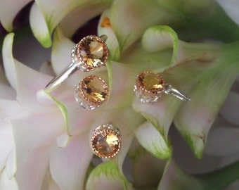 Citrine Jewelry Set, Citrine Ring and Earrings and Pendant Set, 18k Yellow Gold and Sterling Citrine Suite, Ready to Ship