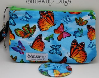 Colorful Butterfly Wristlet and Mirror Set