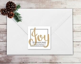 Holiday Return Address Label: Square Label - Joy Return Address Label - Tan Christmas Label - Return Address Sticker - WH210