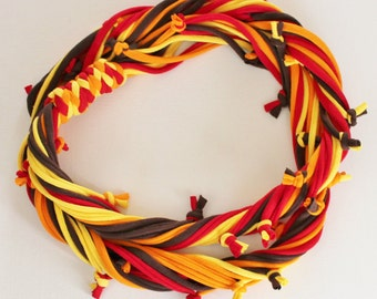 T Shirt Scarf - Infinity Circle Scarves Recycled Cotton - Autumn Fall Red Brown Orange Yellow Gold Casual Necklace