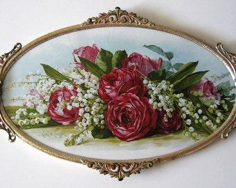 Paul de Longpre Rose Art Print, Shabby Chic Decor, Framed Art