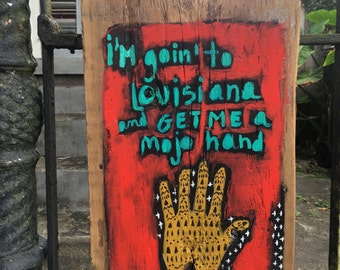 Louisiana Folk Art Painting on Wood