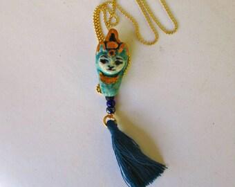 Bastet Porcelain Cat Goddess Bead Pendant Necklace