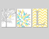 Yellow Gray Aqua Nursery Art Trio - Bird in a Tree, Abstract Floral, Chevron Initial - Set of Three 8x10 Prints - CHOOSE YOUR COLORS