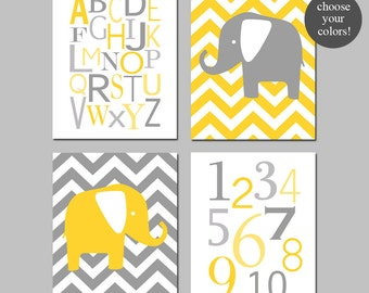 Yellow and Grey Nursery Decor Yellow and Gray Elephant Nursery Art Chevron Elephants Alphabet Numbers - Set of 4 Prints - CHOOSE YOUR COLORS