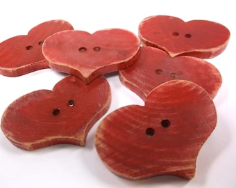 6 Wooden Heart Buttons 2 x 1 1/2 inches or 51 x 38 mm for Scarves, Hats, Journals, Pillows, Cowls