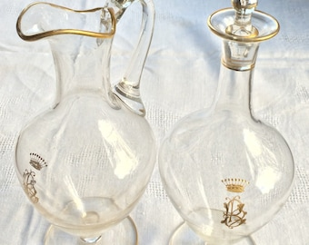 Haraut-Guignard/Le Rosey, Paris Decanter and Pitcher set ca. 1898 Monogram and Crown, Signed, Barware, Use Coupon code 25percentoffwow