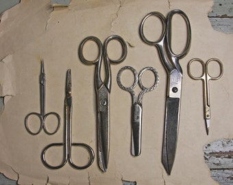 Instant SCISSOR Collection- 6 Pair of Vintage Scissors- Seamstress- Industrial Decor- Valley Forge- Radiant Rustless