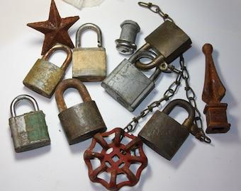 Hardware Lot- Metal SALVAGE- Old LOCKS- Star- Finial