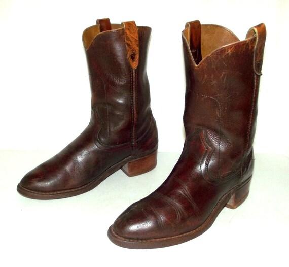 vintage cowboy boots mens size 8 5 d womens 10 brown