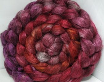 Yak Bombyx Silk 50/50 Roving Combed Top - 5oz - Queen's Garnet 1