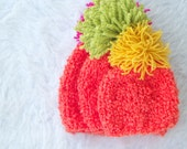 Orange Hats with Pompom, Crochet Winter Hat, Hand Knitted Beanie, Colorful Ski Hat, Slouchy Beanie, Beanie Hat, Chunky Hat, Orange, Cute Hat
