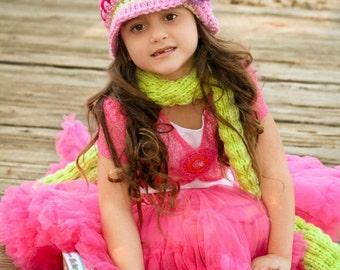 Pink Striped Beanie, Crochet Hat, Toddler Girl Beanie, Hat with Flower, Kids Hats
