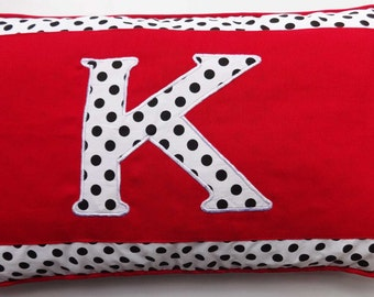 Polka dot monogram pillow red cushion with black polkadot monogram 12x20inch throw pillow custom made