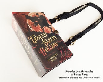 Legend of Sleepy Hollow Book Purse - Headless Horseman Recycled Book Purse - Halloween Costume Accessory - Shoulder Book Cover Handbag