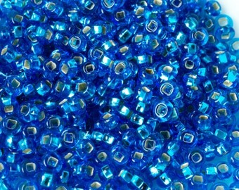 Silver Lined Aqua Blue Round Japanese Seed Beads Size 11