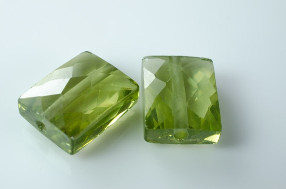 Three Green Amethyst Color CZ Cubic Zirconium Faceted Rectangle Beads