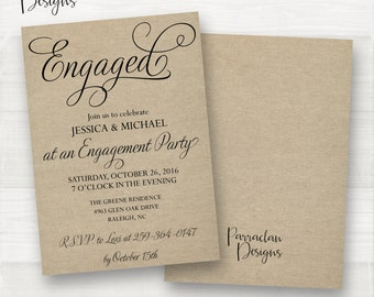 Rustic Engagement Party Invitation   Engagement Party Invitation   Engagement Party   Black   Blush   {EP03}