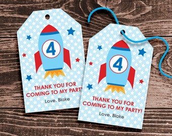 Personalized Space Rocket Party Favor Tags – DIY Printable – Hang Tags (Digital File)