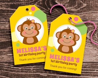 Personalized Monkey Party Favor Tags – DIY Printable – Hang Tags – Monkey Girl (Digital File)