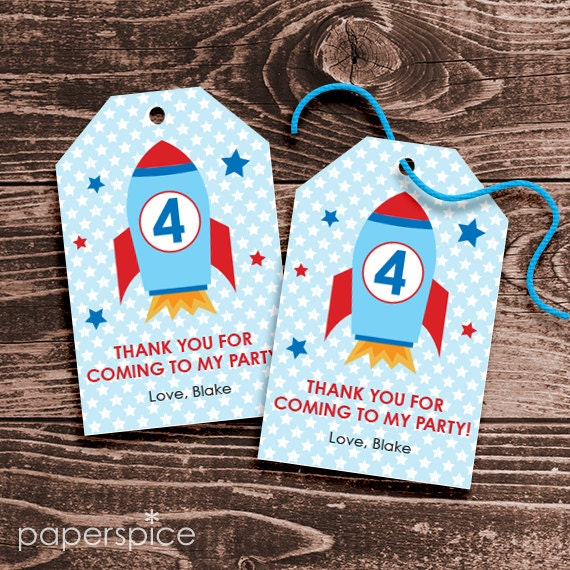 Personalized Space Rocket Party Favor Tags DIY Printable