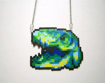 t-rex perler necklace