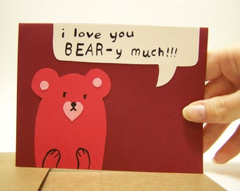 beary much valentine card and envelope