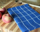 Handwoven windowpane plaid kitchen towel in royal blue & natural cottons