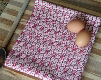 Red stepping stone twill kitchen tea towel