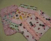 3 New  Baby Girl Burp Cloths with minky backing Minnie Mouse Paper Dolls Mini Owls
