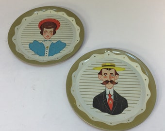 Vintage Mr and Mrs Tin Plates Dishes