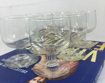 Vintage Small Cocktail Martini Cordial Margarita Brandy Glasses Set of 6