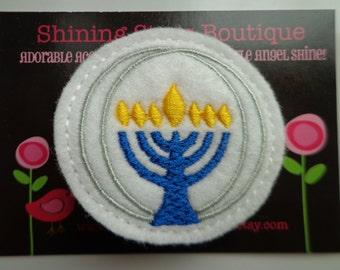 Felt Hair Clip - Girls Hair Accessories - White, Yellow, And Royal Blue Felt Hanukkah Menorah Boutique Embroidered Hair Clippie