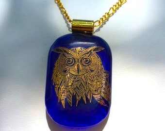 Gold Owl Fused Glass Cobalt Pendant w/ Gold Chain