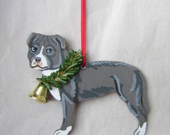 Hand-Painted PITBULL TERRIER Blue/White Wood Christmas Ornament...Artist Original, Christmas Tree Ornament Decoration