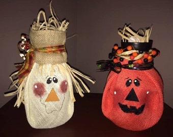 Burlap Scarecrow & Jack O'Lantern Candles