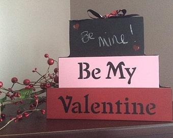 Valentine stacked blocks, personalized
