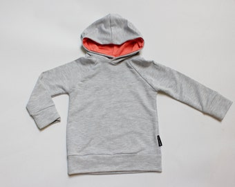 Heather Grey / Coral Bamboo Pullover Hoodie