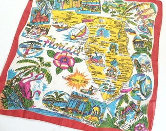 Vintage Florida scarf 1950s silk flamingos palm trees hibiscus made in Japan rolled edges souvenir Floridiana kitsch