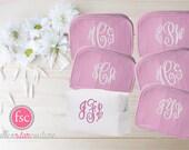 Set of 6 bridesmaid makeup bags , bridesmaid accesory bags, monogrammed bag, wedding bag , bridesmaid gifts , personalized bridesmaid gifts