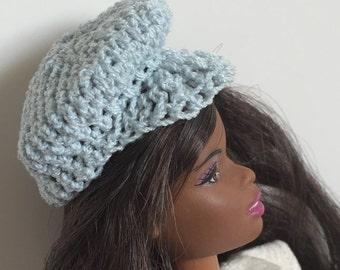 Barbie Ken Handmade Clothes Sky Blue Newsboy Hat Crocheted (SS1901)