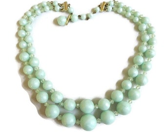 2 Strand Mad Men Necklace Beaded Blue Faux Pearl and Faux Crystal Vintage