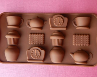 Silicone Tea Cup Mold Teapot Silicone Mold Biscuit Clock Tea Time Fondant Mold Polymer Clay Sugar Butter Molds Chocolate Mold