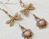 Silver Dragonfly Earrings - Pink Fire Opal Glass Opals, Filigree Earrings, Dragonfly Jewelry