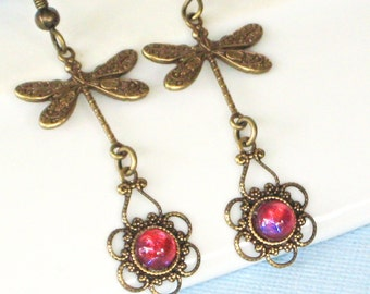 Brass Dragonfly Earrings - Dragons Breath Glass Opals, Filigree Earrings, Dragonfly Jewelry