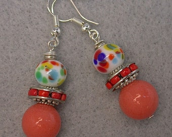 Vintage Japanese Millefiori White Red Blue Glass Dangle Drop Bead Earrings, Rare Vintage Coral Chalcedony ,Silver French Ear Wires
