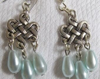 Chandelier Earrings Delightful Greenish/Blue Pearls dangling  pr